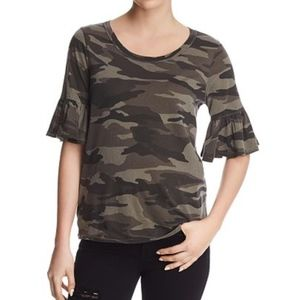 Splendid T-Shirt Camouflage Ruffle Sleeves